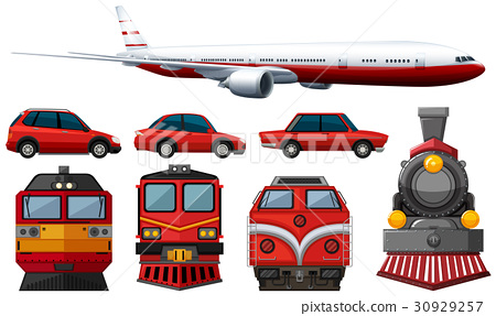 different types of vehicles in red color 30929257