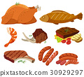 Different types of grilled meat 30929297