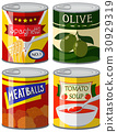 Four types of canned food in set 30929319