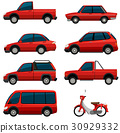 Different types of transports in red color 30929332