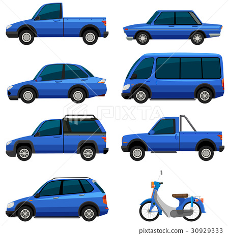 Different types of transportations in blue color 30929333