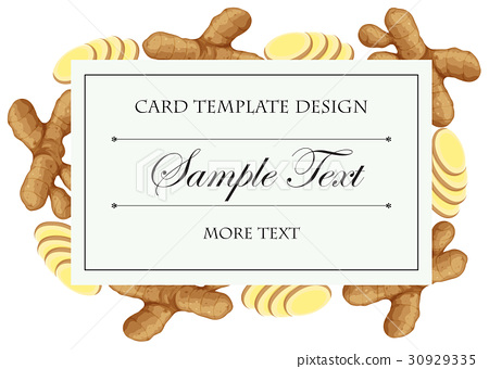Card template with fresh ginger on border 30929335