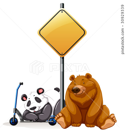 Bear and panda under the yellow sign 30929339