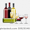 Different types of wine and glasses 30929346