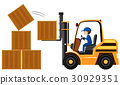 Man lifting wooden boxes with forklift 30929351