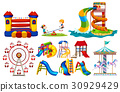 Different types of play stations at playground 30929429