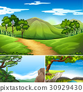 Three scenes with mountains at daytime 30929430
