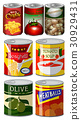 Different kinds of food in can 30929431