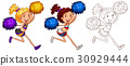 Doodle character for girl cheerleader 30929444