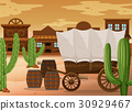 Western town scene with wooden wagon 30929467