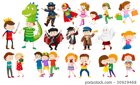 Many kids in different costumes 30929468