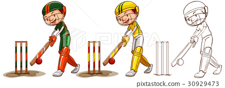 Doodle character for cricket players 30929473