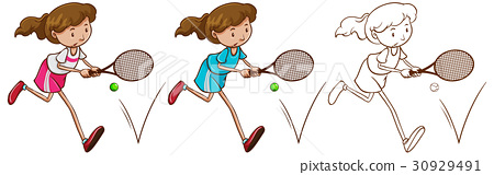 Doodle character for female tennis player 30929491