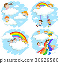 Happy children on fluffy clouds and rainbow 30929580