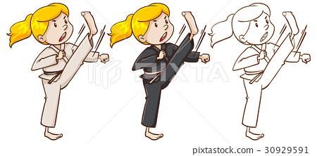 Drafting character for girl doing karate 30929591