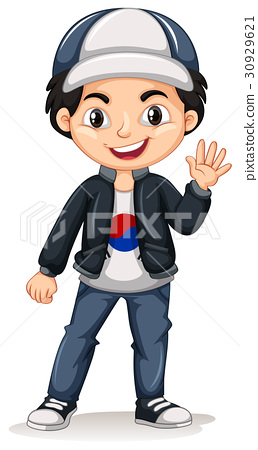 Korean boy wearing cap and jacket 30929621