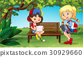 Two girls hanging out in the park 30929660