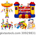 Children playing on different rides 30929831