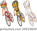 Man riding bicycle in three sketches 30929840