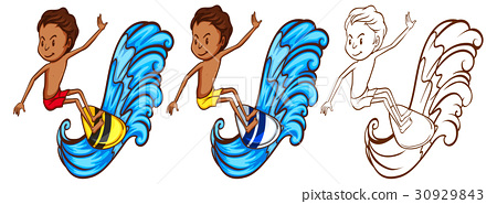 Man on surfboard in three sketches 30929843