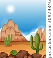 Desert scene with mountains and cactus 30929846