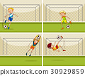 Four football scenes with goalkeeper at goal 30929859