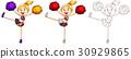 Cute cheerleader in three sketches 30929865