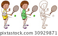 Tennis player in three sketches 30929871