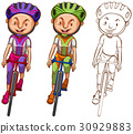 Doodle character for man cycling 30929883