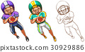 Doodle character for american football player 30929886