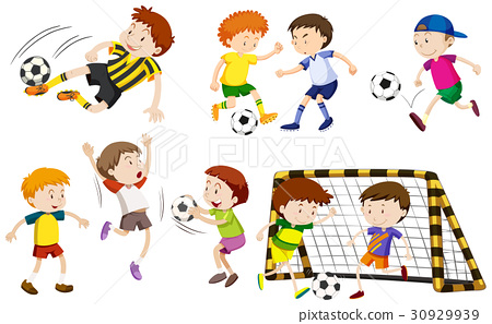 Many boys playing football 30929939