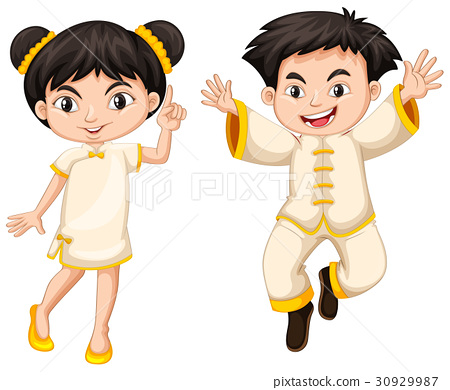 Chinese boy and girl in traditional costume 30929987