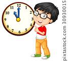 Asian boy looking at big clock 30930015