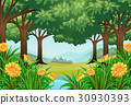 Forest scene with flowers and pond 30930393