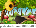 Forest scene with beehive and mushroom 30930403