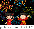 Two Chinese kids with firework background 30930421