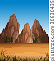 Desert scene with mountains and field 30930435