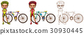Doodle character for man doing cycling 30930445