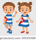 Boy and girl wearing shirts with Cuba flag 30930486