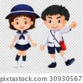 Boy and girl in school uniform 30930567