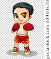 Boxer in red shorts and gloves 30930570
