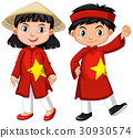 Vietnamese boy and girl in red costume 30930574