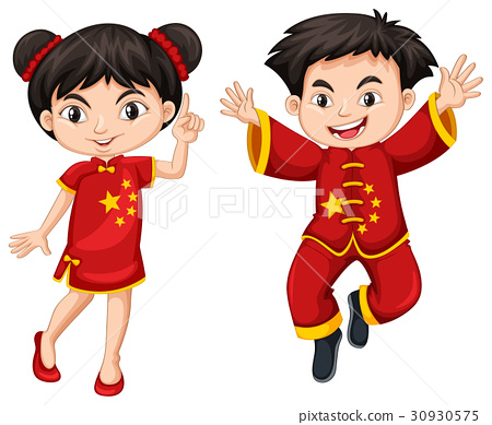 Chinese boy and girl in red costume 30930575