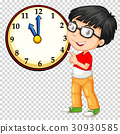 Boy looking at clock on transparent background 30930585
