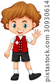 Switzerland boy waving hello 30930614