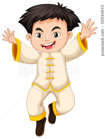 Chinese boy in white costume 30930645