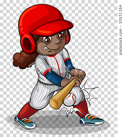 Female baseball player on transparent background 30931164