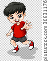 Happy boy in red shirt 30931176