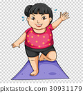 Fat girl doing yoga on mat 30931179
