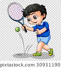 Tennis player on transparent background 30931190